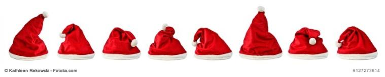 8 verschiedene Nikolausmtzen - isoliert - Weihnachtsmtzen