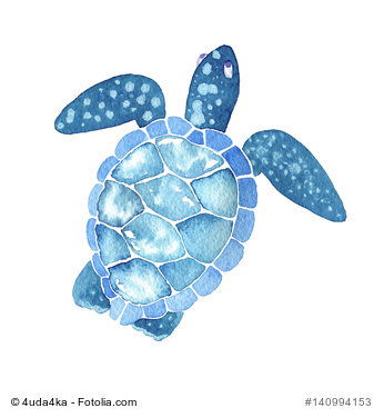 sea life. Watercolor sea turtle isolated on white background